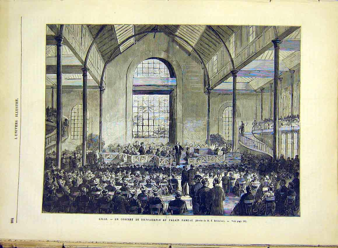 Print Lille Concert Rameau Palace Music French 1881 84Lun0 Old Original
