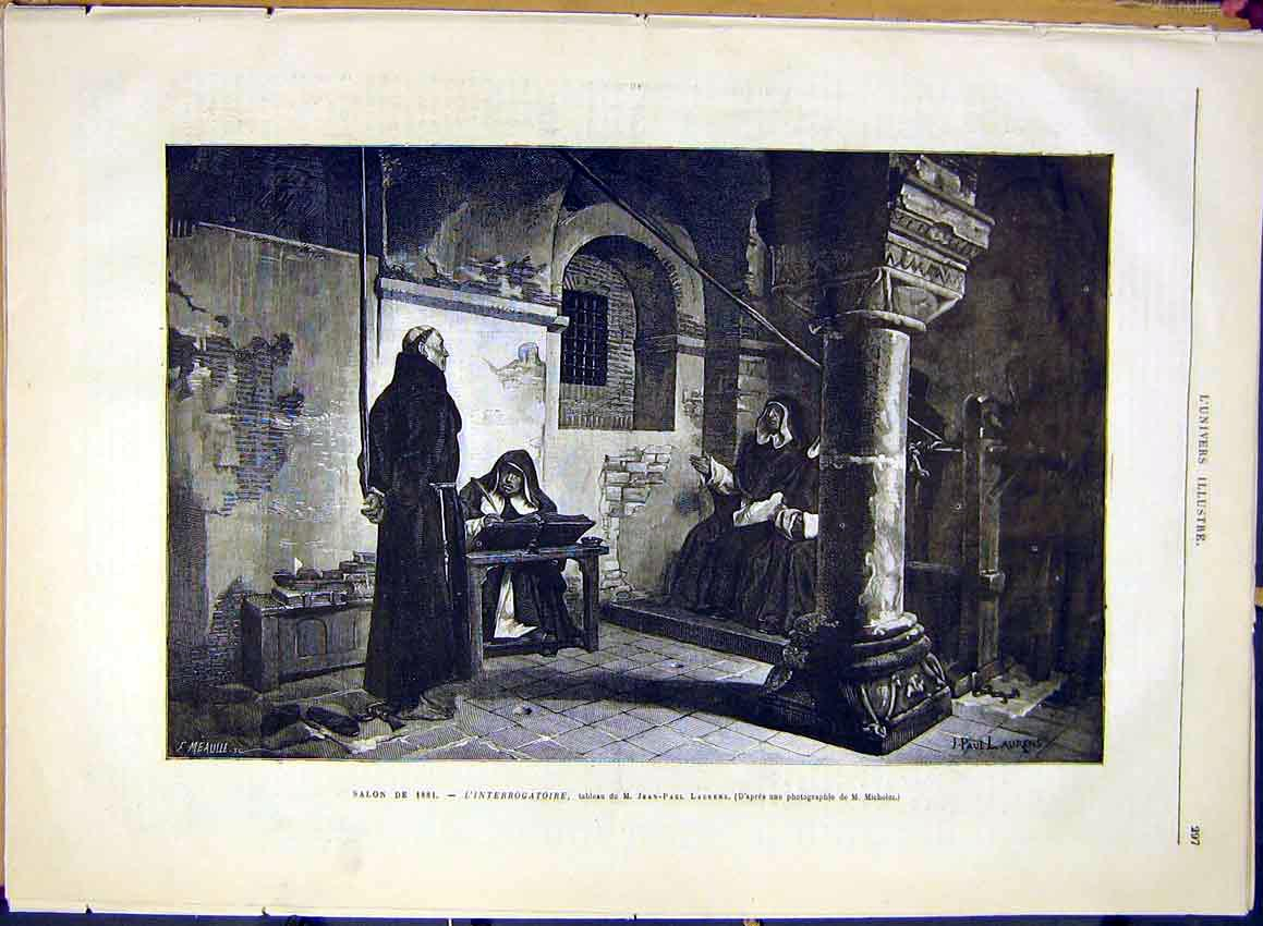 Print Interrogation Laurens Religious French 1881 Art 97Lun0 Old Original