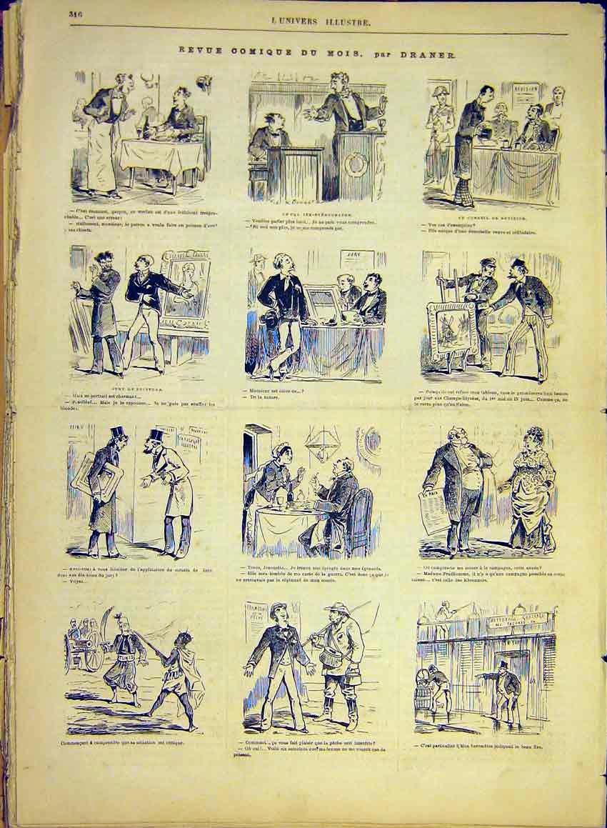 Print Comic Review Draner Restaurant French 1881 16Lun0 Old Original