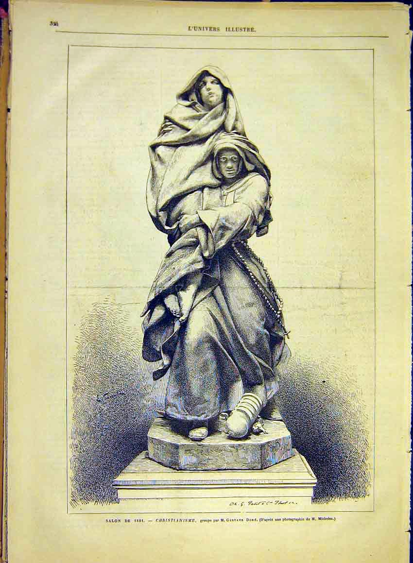Print Statue Christianism Dore Religious French 1881 24Lun0 Old Original