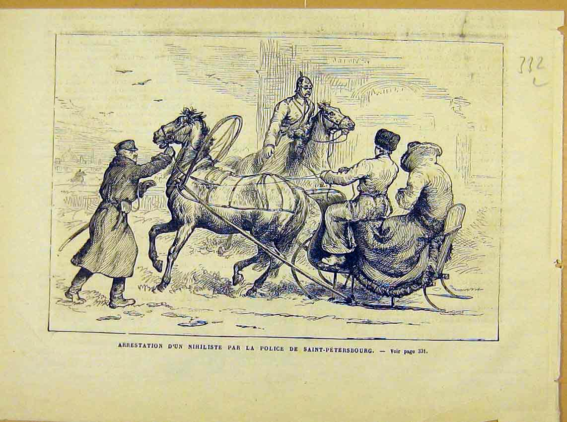 Print Nihiliste Saint-Petersburg Russia Arrest 1881 32Llun0 Old Original