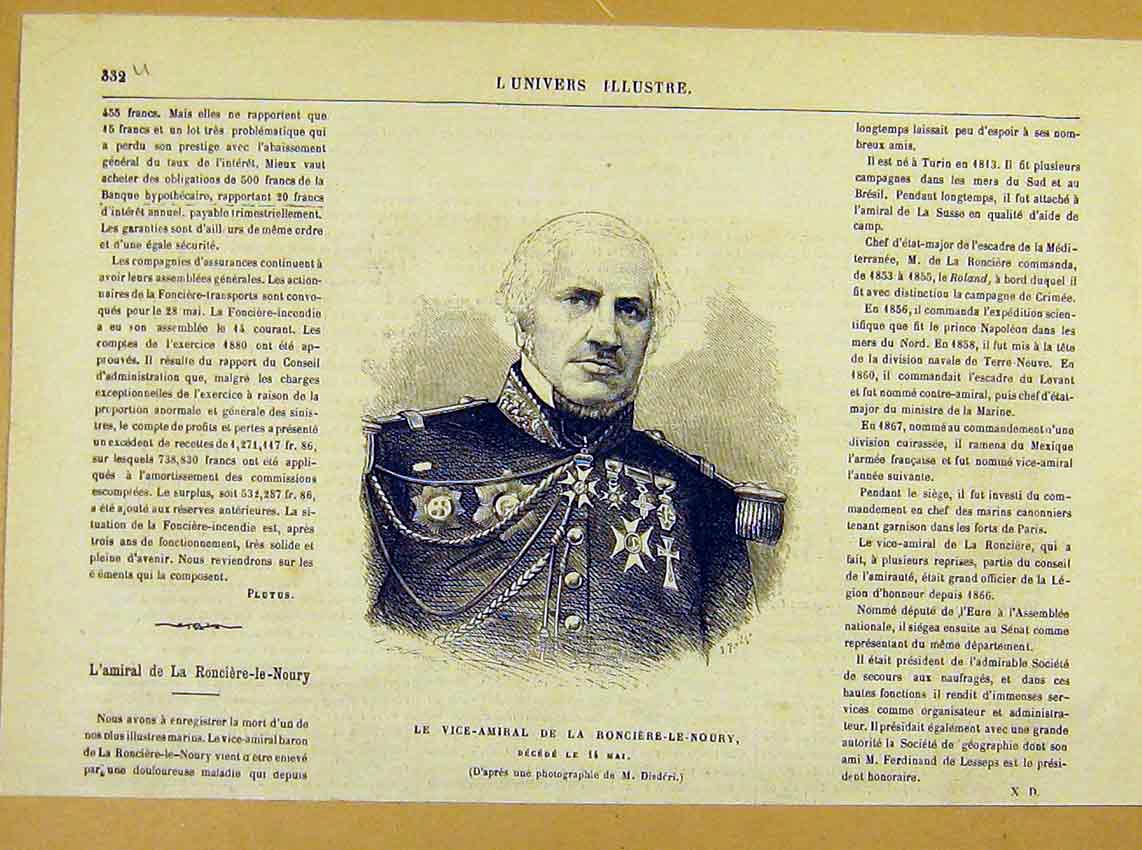 Print Portrait Vice-Admiral Ronciere-Le-Noury Military 1881 32Ulun0 Old Original