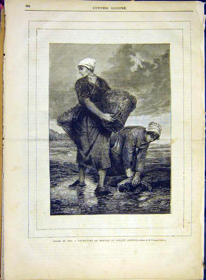 Print Mussel Fishing Women Dieppe Beyle French 1881 44Lun0 Old Original