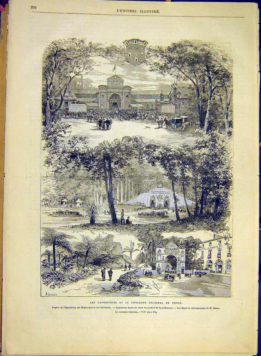 Print Exhibition Concours Regional Industry Garden Mame 1881 76Lun0 Old Original