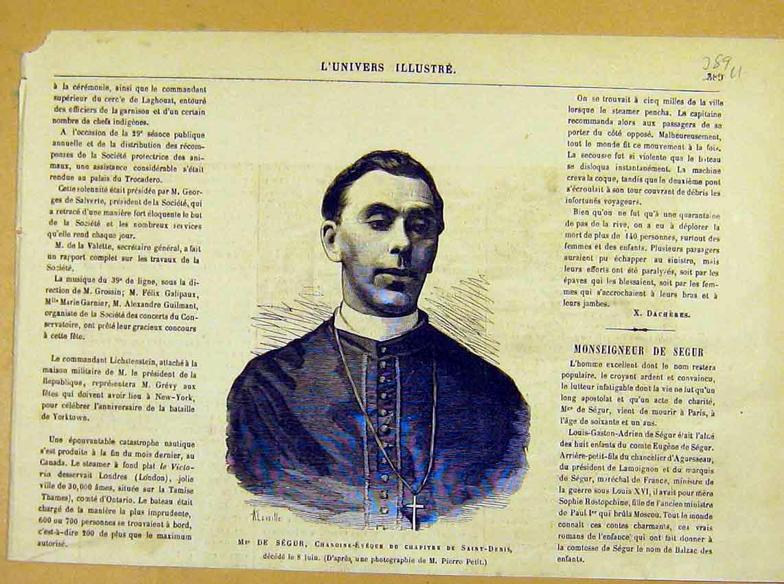 Print Portrait Segur Saint-Denis Religious Priest 1881 89Ulun0 Old Original