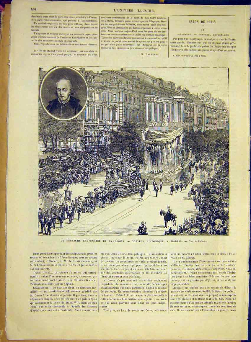 Print Calderon Historic Procession Madrid Spain 1881 04Lun0 Old Original