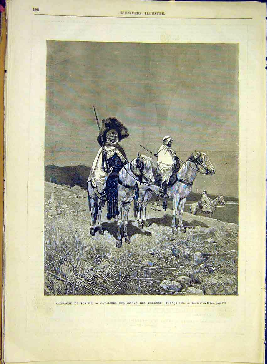 Print Campaign Tunisia Cavalry Guard French 1881 08Lun0 Old Original