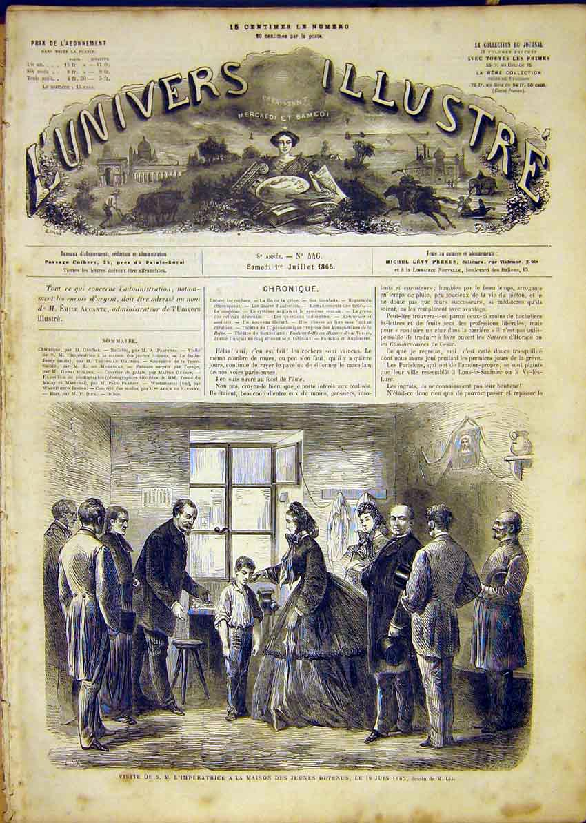 Print Empress Young Prisoners House French 1865 10Lun1 Old Original