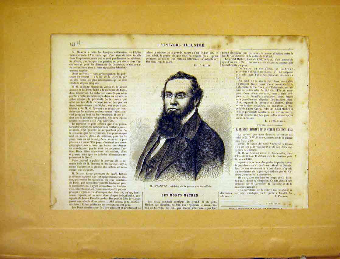 Print Portrait Stanton United States Minister 1865 24Ulun1 Old Original