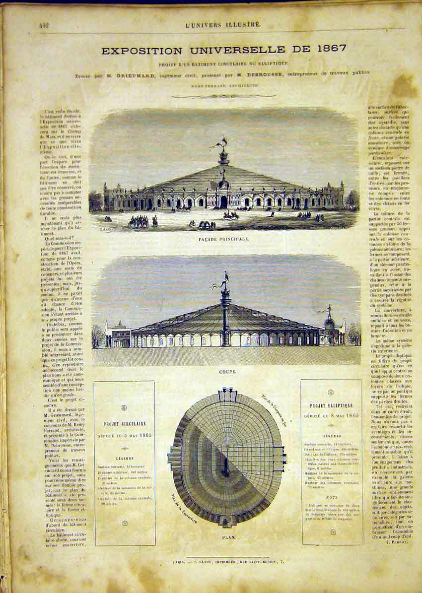 Print Universal Exhibition Fa��Ade Plan Buildings 1865 32Lun1 Old Original