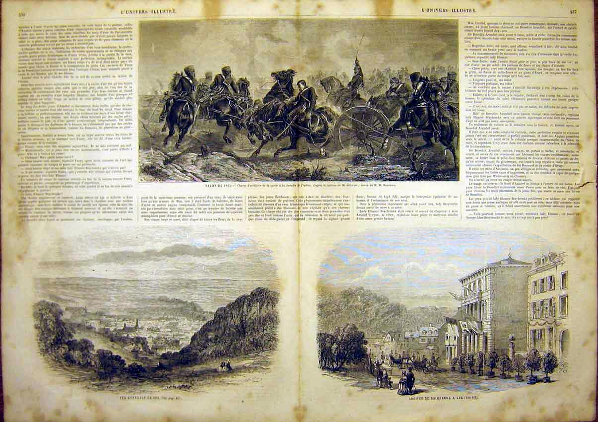 Print Artillery Military Schreyer Spa View French 1865 35Tlun1 Old Original