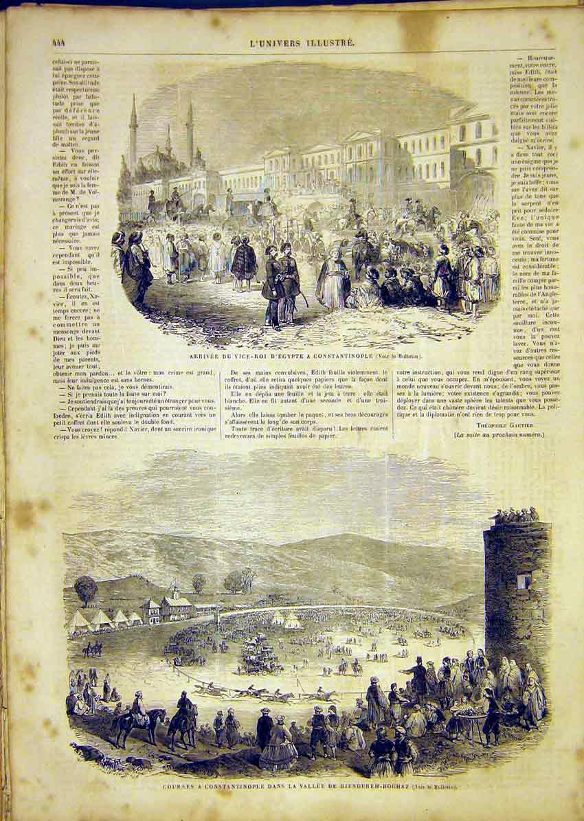 Print Viceroy Egypt Constantinople Race-Course Horses 1865 44Lun1 Old Original