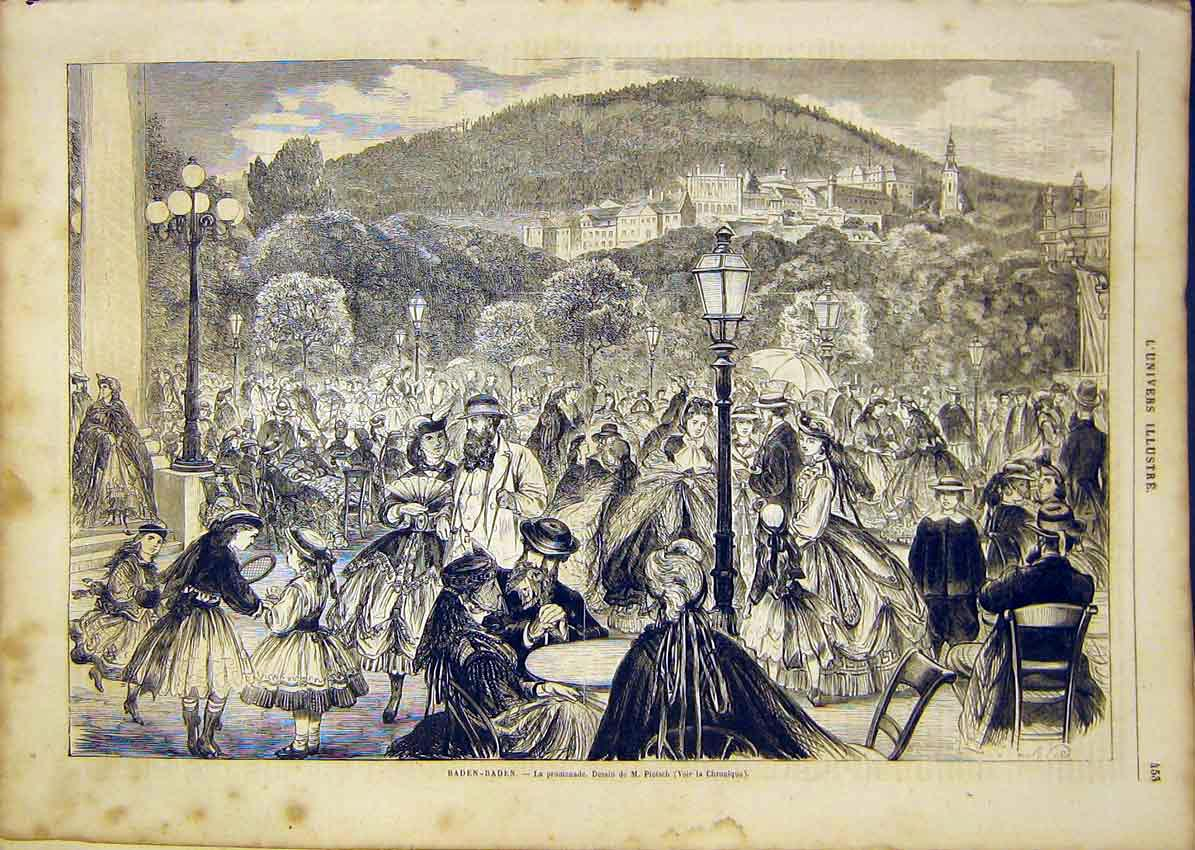 Print Baden-Baden Pietsch French 1865 53Lun1 Old Original