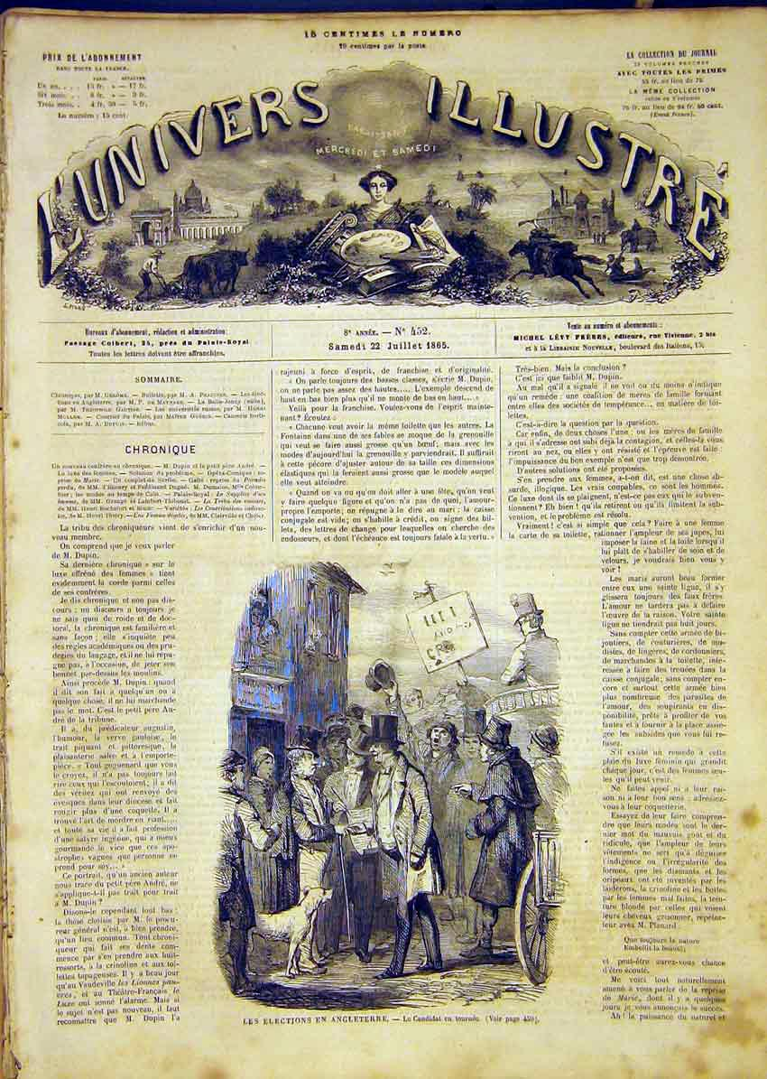 Print England Elections Candidate Votes French 1865 58Lun1 Old Original