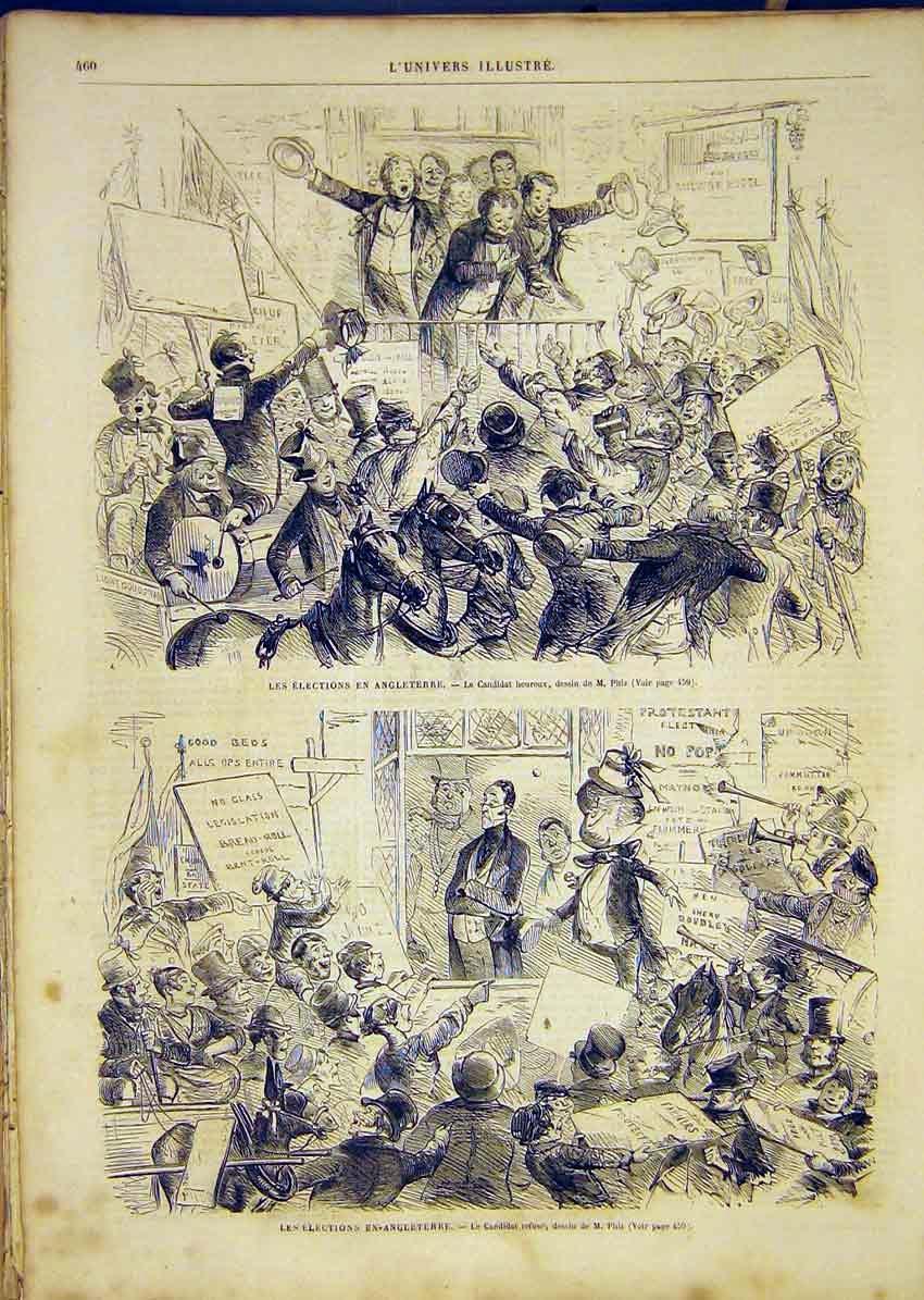 Print Elections England Phiz Candidate French 1865 60Lun1 Old Original