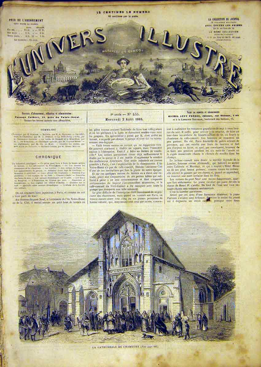 Print Cathedral Chambery Religious French 1865 82Lun1 Old Original