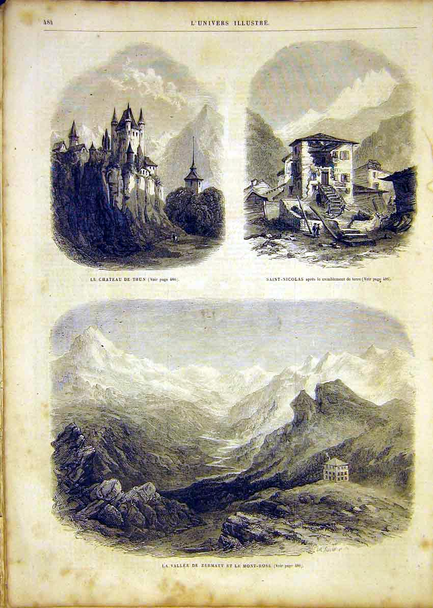 Print Castle Thun Saint-Nicholas Valley Zermatt Mont-Rose 84Lun1 Old Original