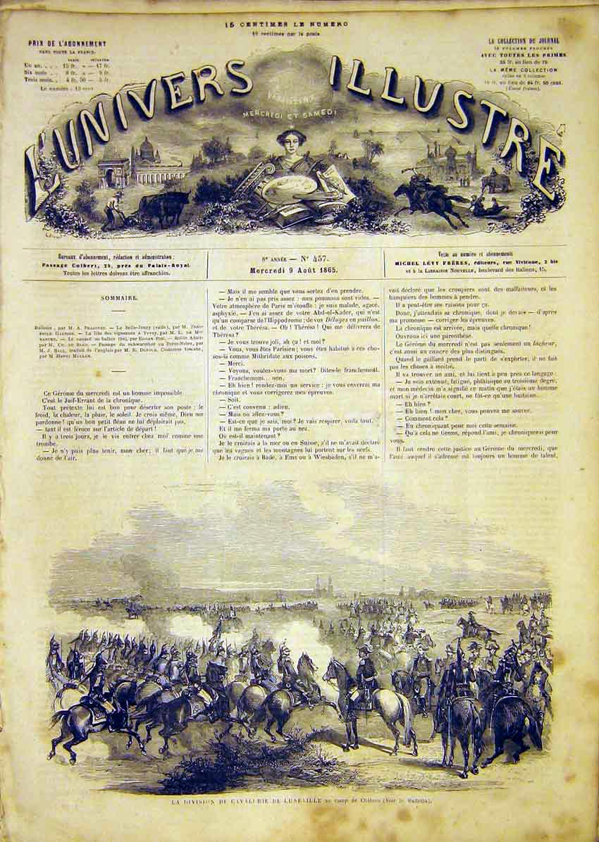 Print Chalons Cavalry Luneville Military French 1865 98Lun1 Old Original