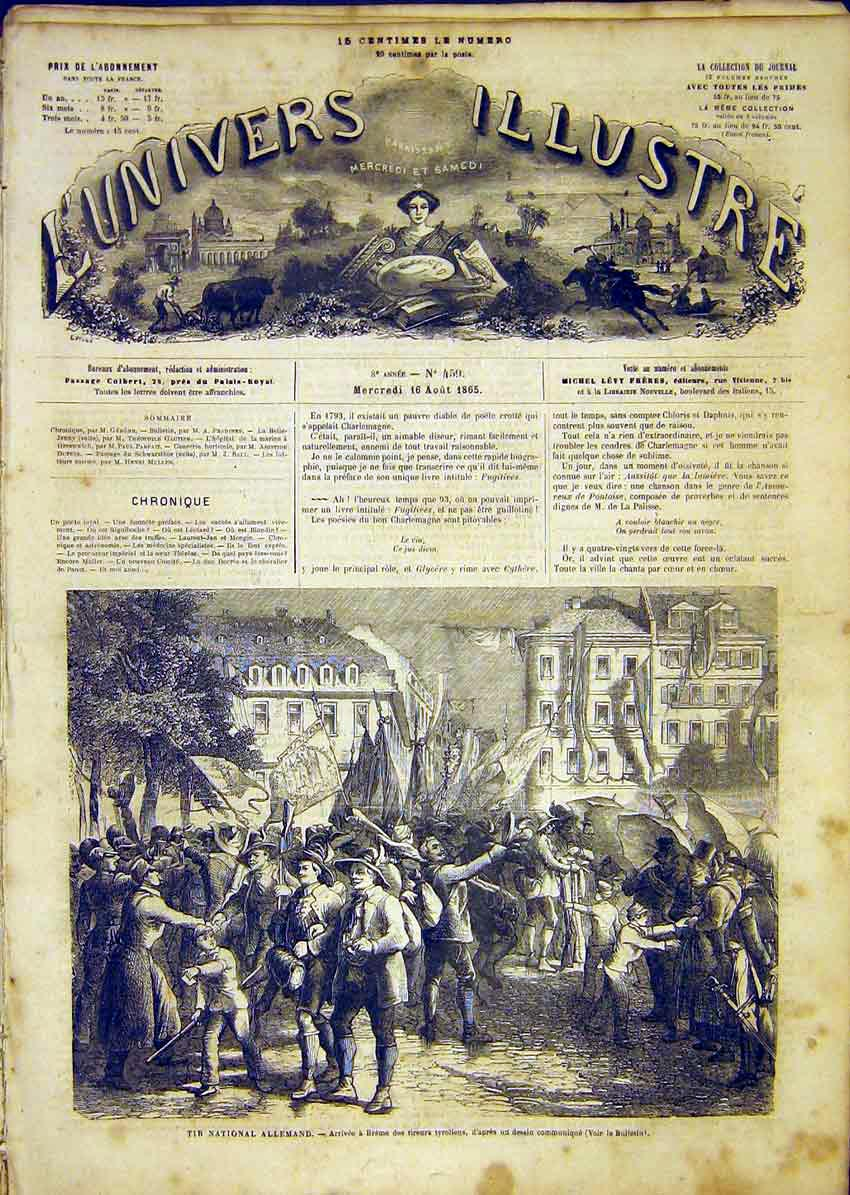Print Germany Breme Tyroliens French 1865 14Lun1 Old Original