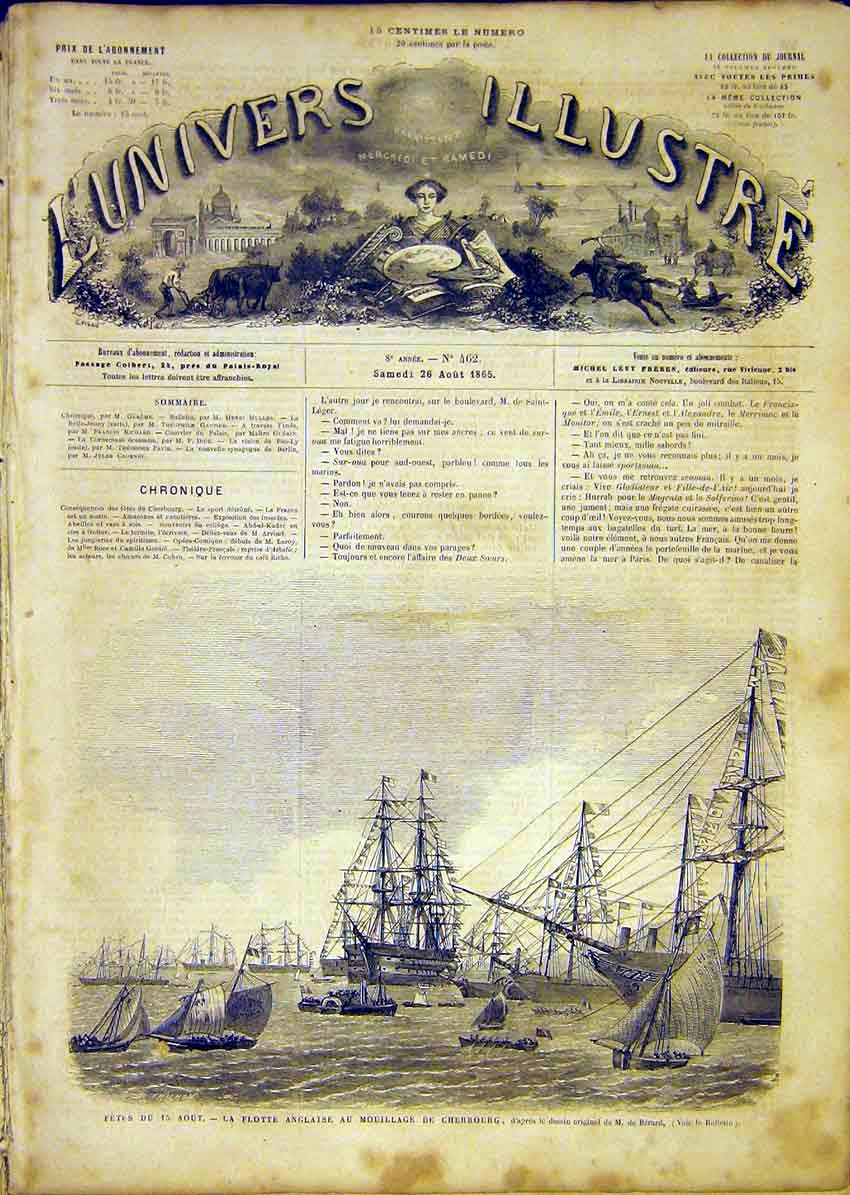 Print Fete Cherbourg Ships Flotilla Boats French 1865 38Lun1 Old Original