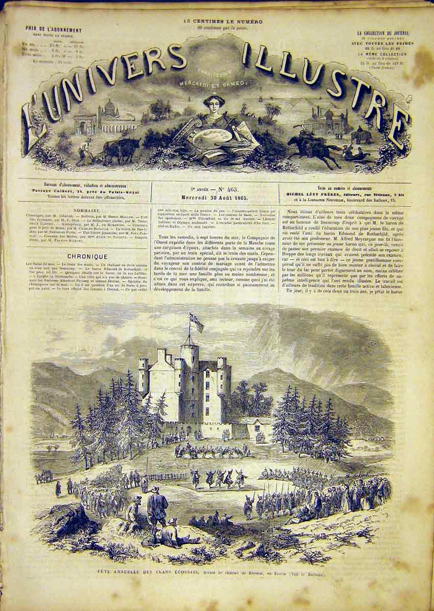 Print Fete Scottish Scotalnd Braemar Clans French 1865 46Lun1 Old Original