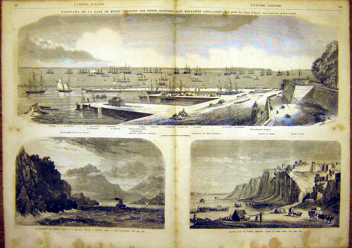 Print Ships Indoustan Navy Military Madeleine 1865 55Tlun1 Old Original