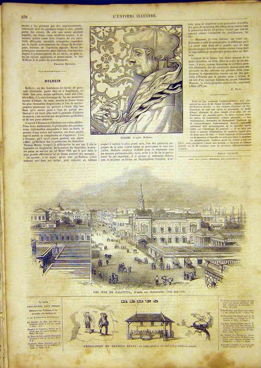 Print Erasme Holbein Calcutta Street French 1865 76Lun1 Old Original