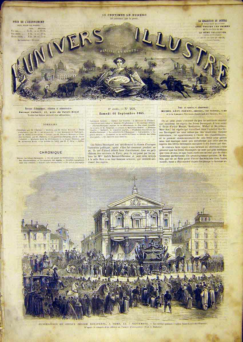 Print Funeral Prince Bonaparte Rome Italy French 1865 86Lun1 Old Original