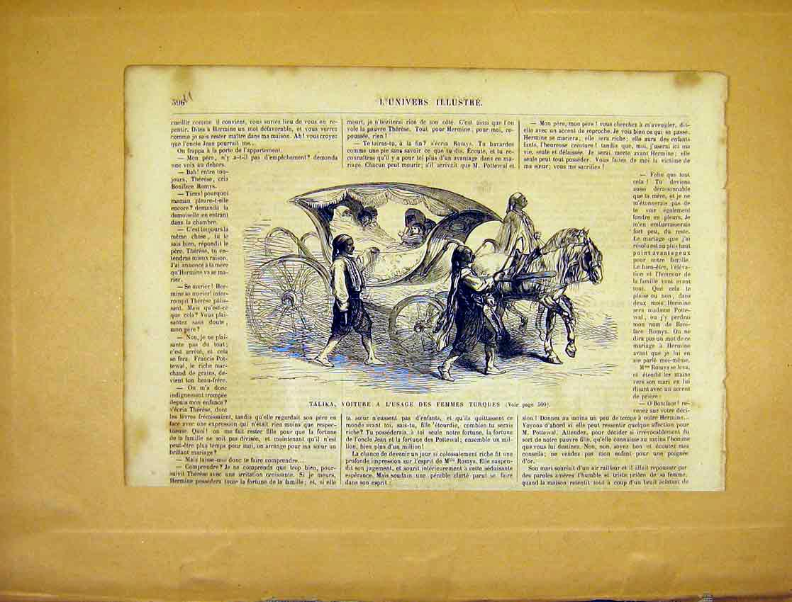 Print Talika Carriage Turkey Travel Ladies French 1865 96Ulun1 Old Original