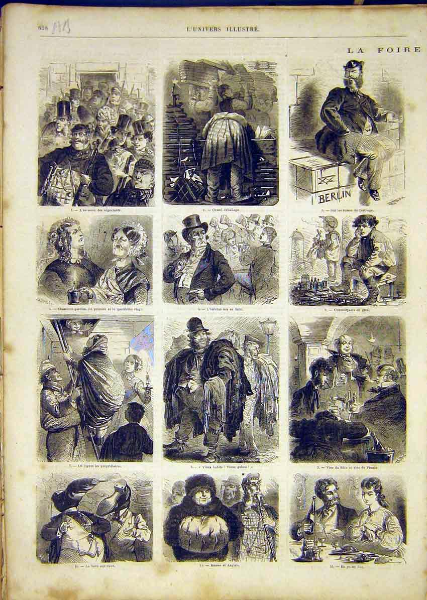 Print Fair Carthage Market Leipzig People French 1865 28Alun1 Old Original