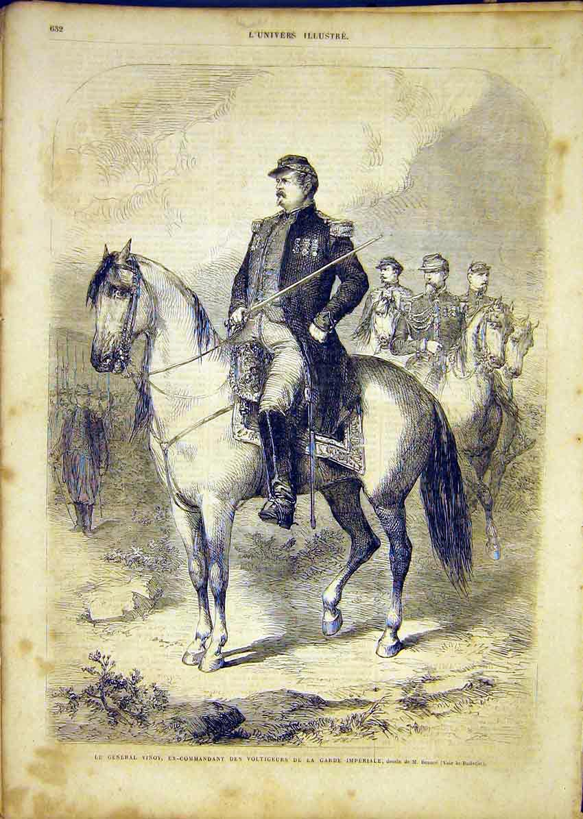 Print Portrait General Vinoy Imperial Guard French 1865 32Lun1 Old Original