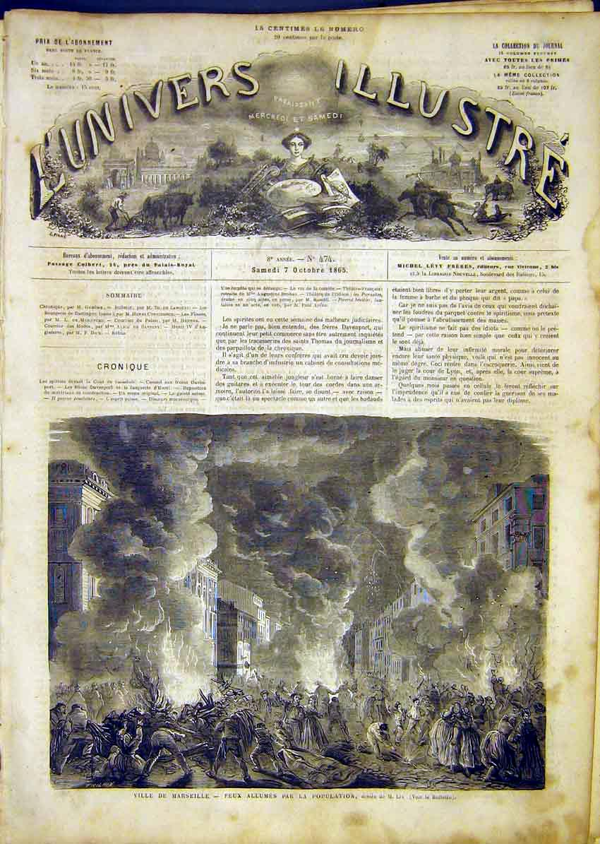 Print Marseille Fire City France French 1865 34Lun1 Old Original