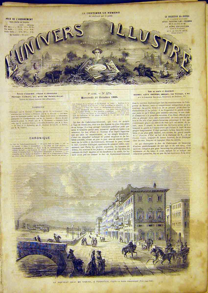 Print Florence Quay L'Arno Buildings French 1865 42Lun1 Old Original