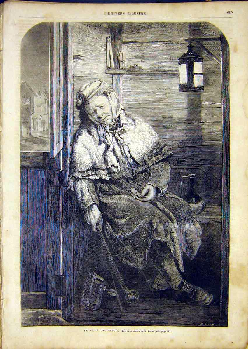 Print Portrait Woman Smoker Pipe Lucas French 1865 45Lun1 Old Original