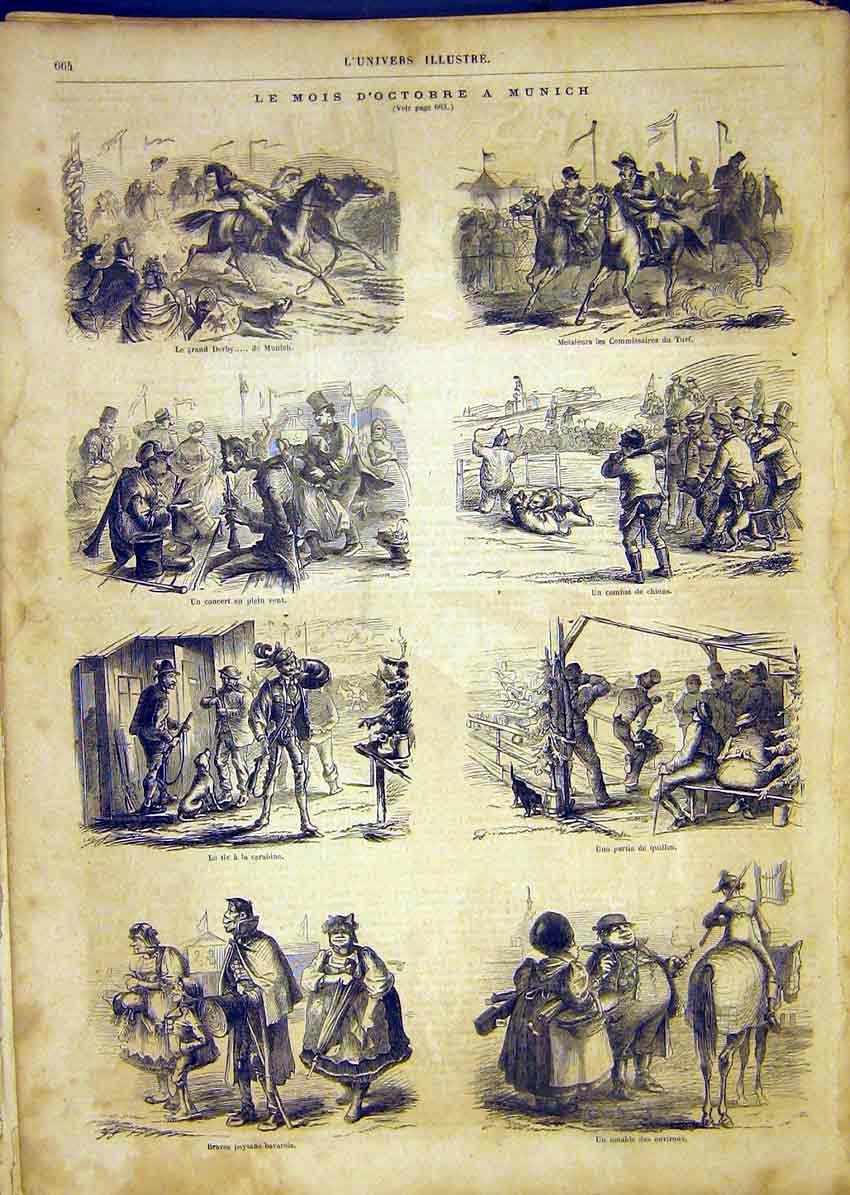 Print Munich Races Sketches Derby French 1865 64Lun1 Old Original
