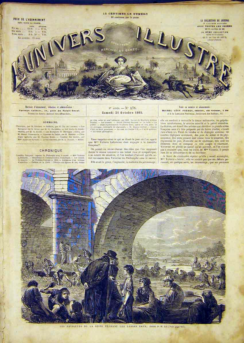 Print Seine Floods Lix Victims French 1865 Paris France 66Lun1 Old Original