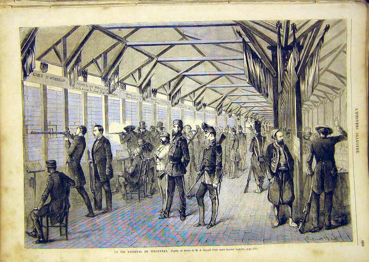 Print Shooting Vincennes Beauce Sport French 1865 69Lun1 Old Original
