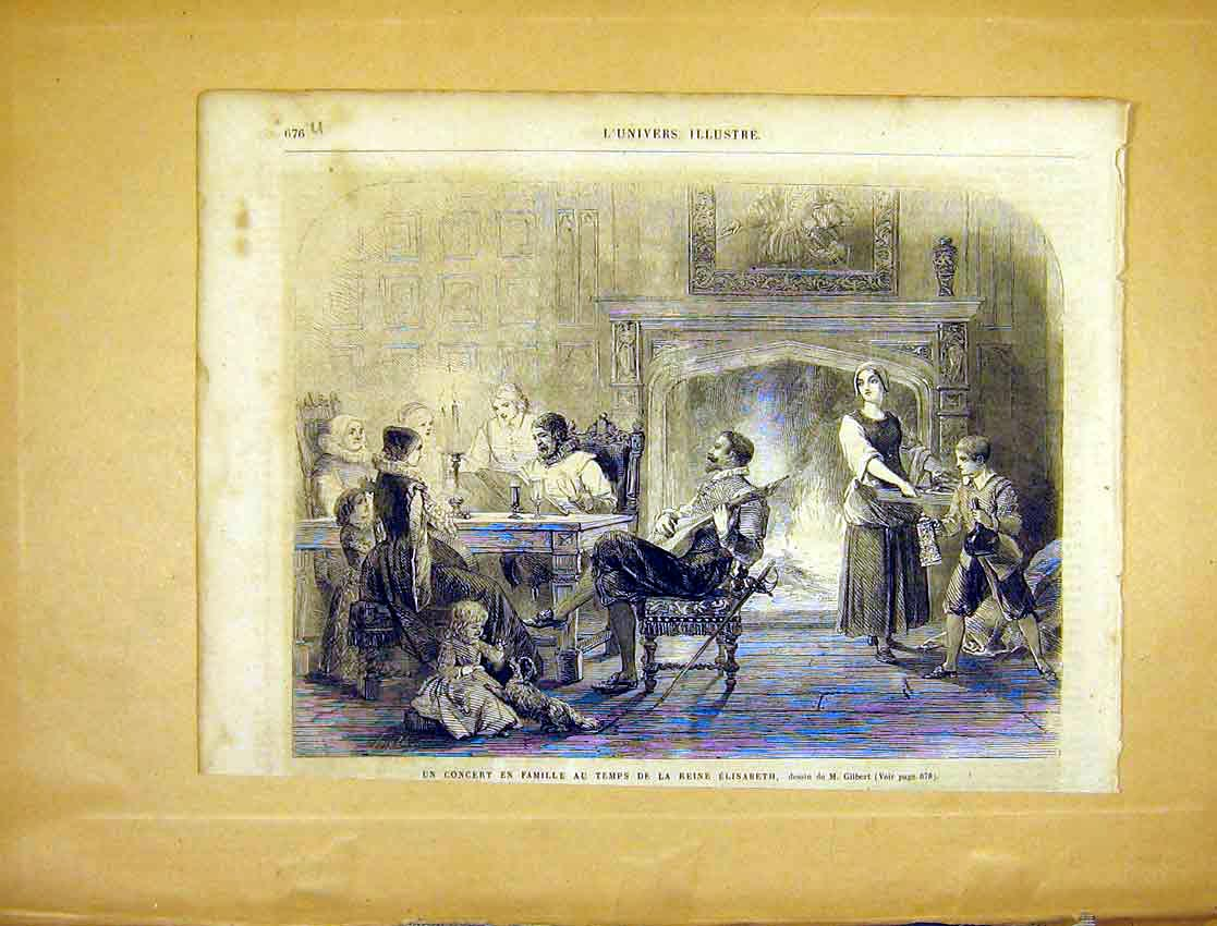 Print Concert Family Elizabeth Reign Music French 1865 76Ulun1 Old Original