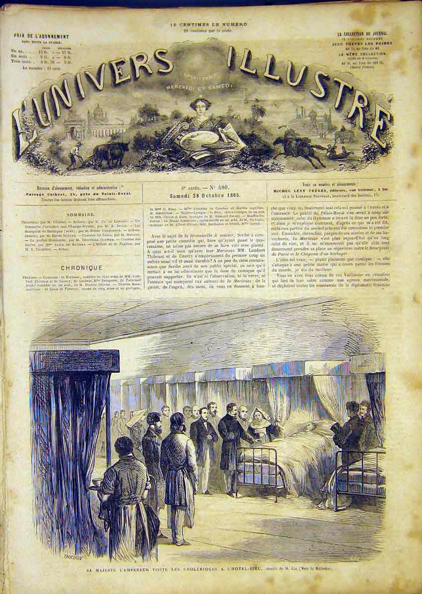 [Print Emperor Cholera Hospital Lix Patients French 1865 82Lun1 Old Original]