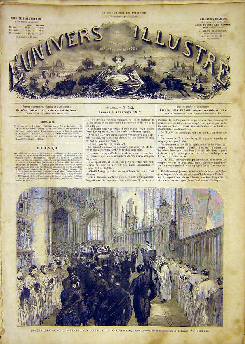 Print Funeral Palmerston Westminster Abbey French 1865 98Lun1 Old Original