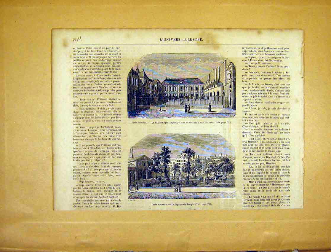 Print Paris Library Square Temple France French 1865 24Ulun1 Old Original