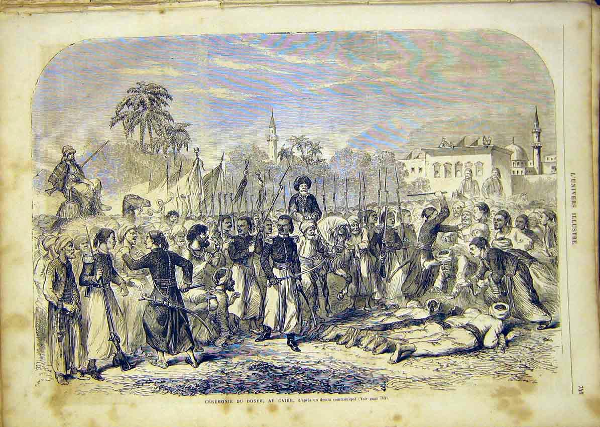 Print Ceremony Doseh Cairo Egypt Africa French 1865 41Lun1 Old Original