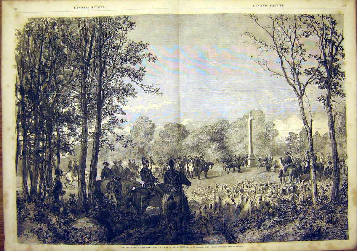 Print Imperial Forest Compiegne Hunt Hounds French 1865 47Tlun1 Old Original