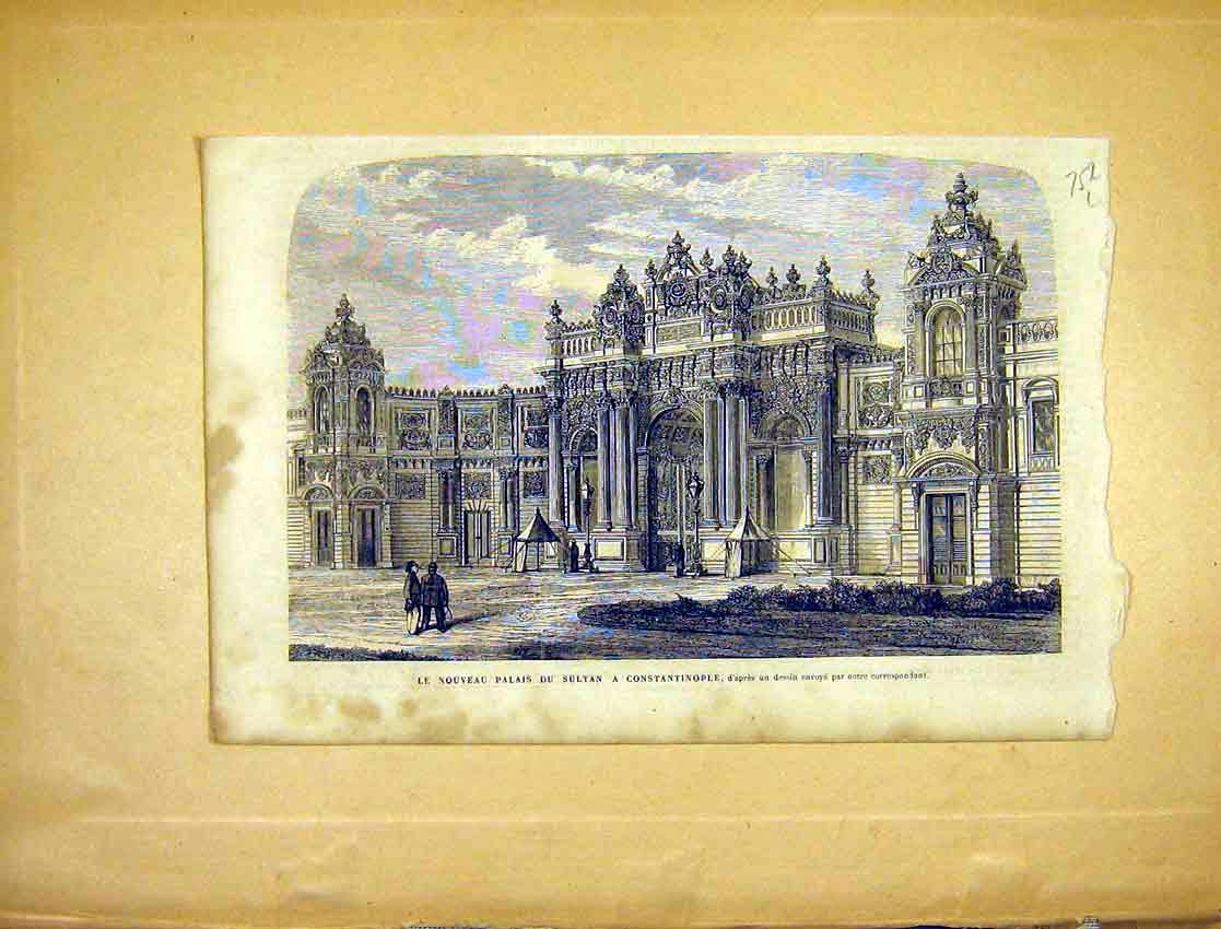 Print Palace Sultan Constantinople French 1865 52Llun1 Old Original