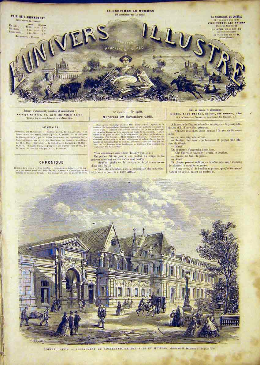 Print Paris Delannoy Buildings Architecture French 1865 54Lun1 Old Original