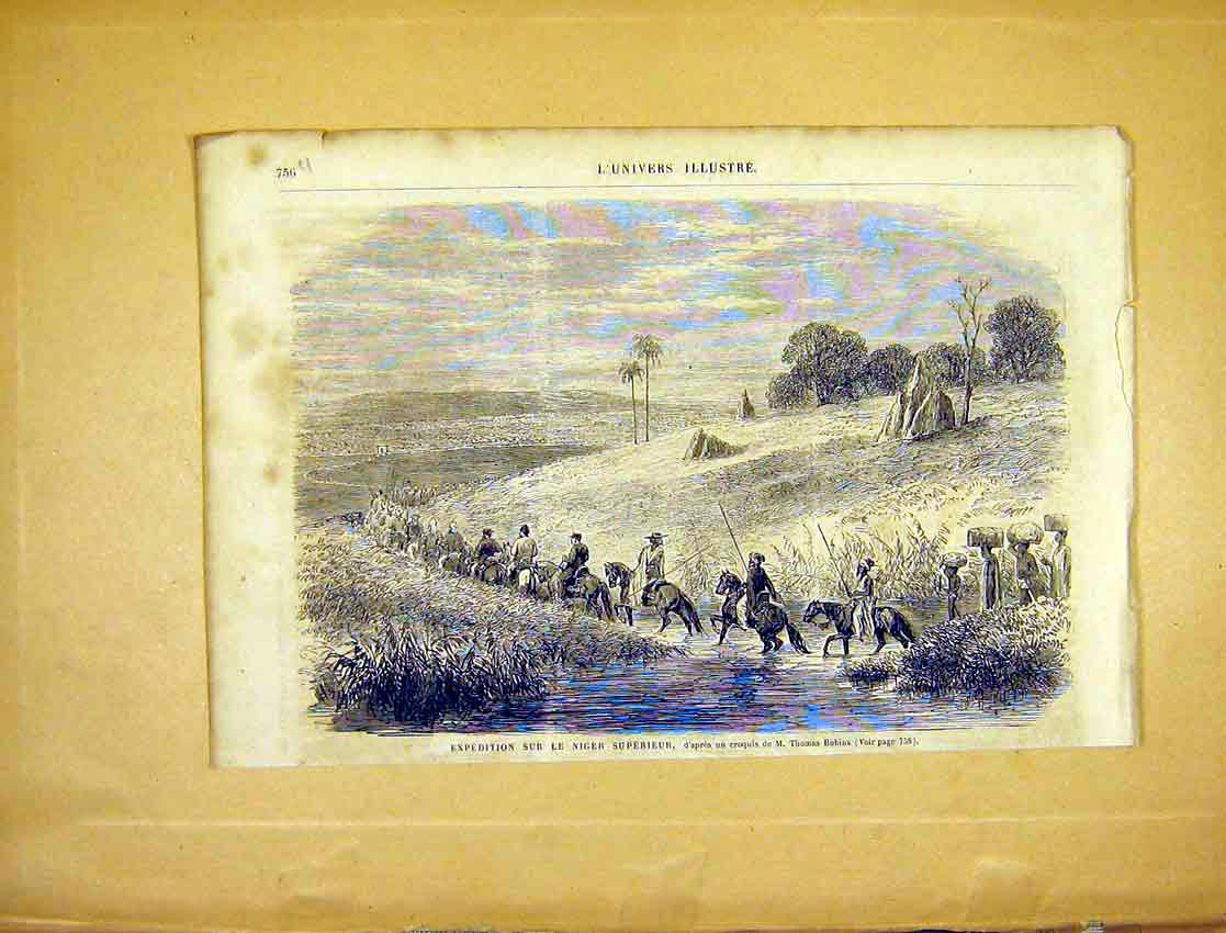 Print Niger Expedition Robins French 1865 Africa 56Ulun1 Old Original