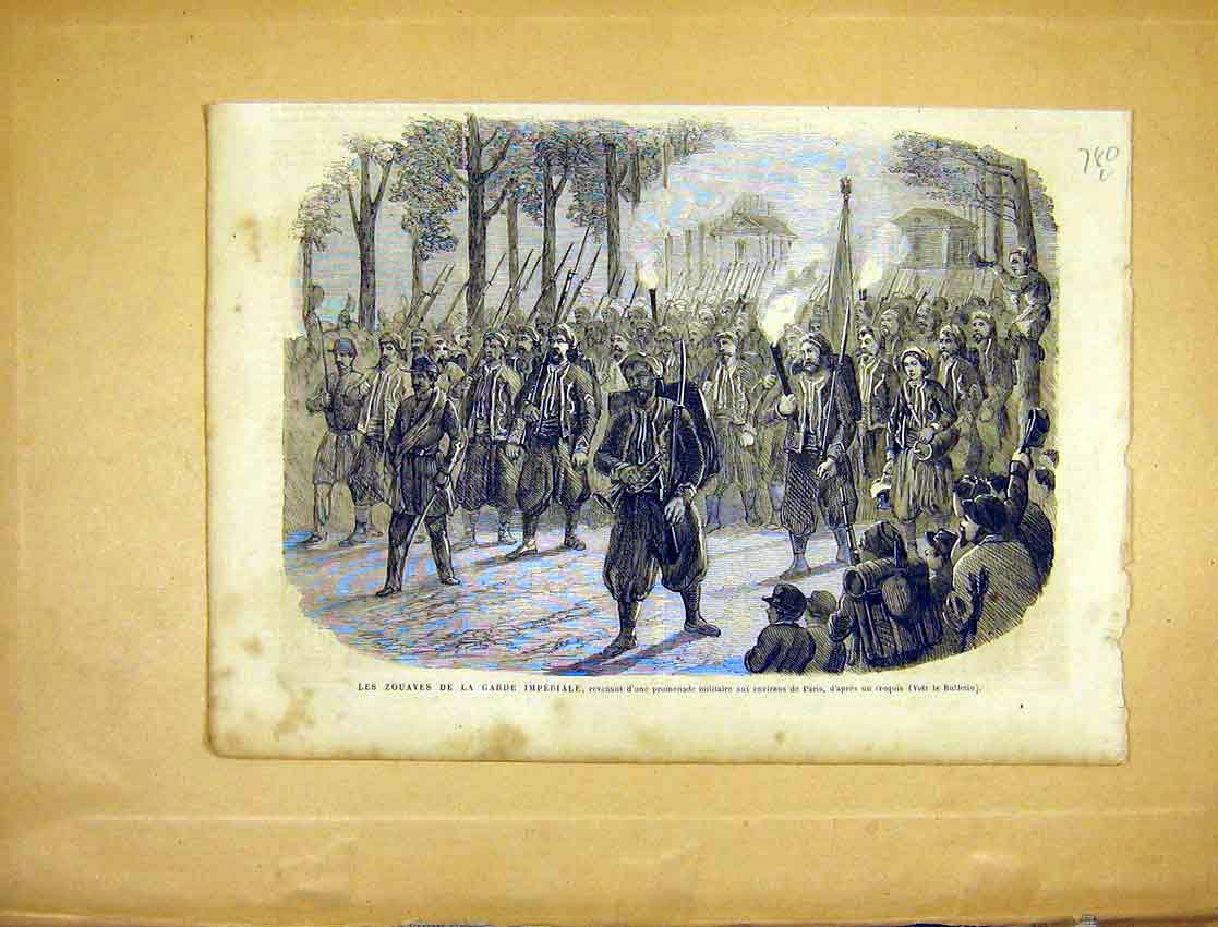 Print Zouaves Guard Imperial Troops 1865 Military 80Llun1 Old Original