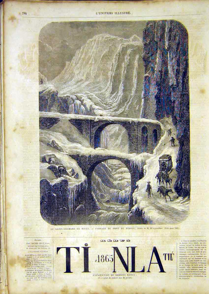 Print Saint-Gothard Winter Diable Bridge French 1865 84Lun1 Old Original