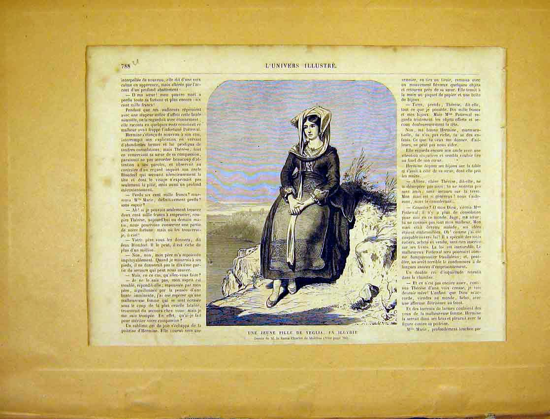 Print Young Lady Veglia Malchus Fine Art French 1865 88Ulun1 Old Original