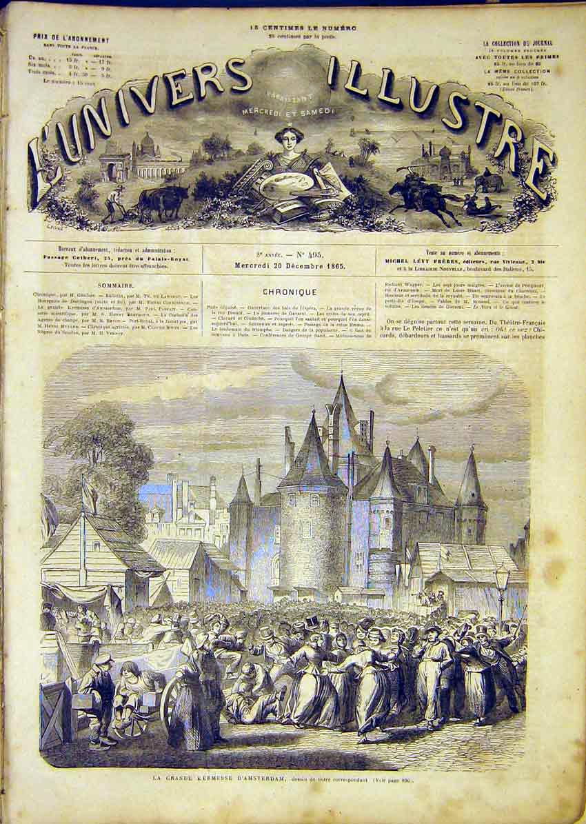 Print Amsterdam Holland Market French 1865 02Lun1 Old Original